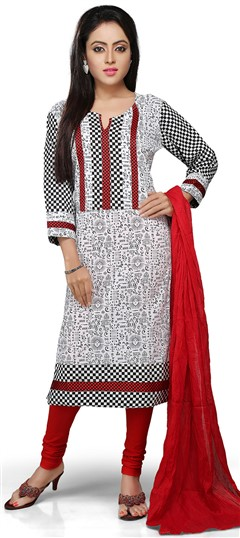 466160 Black and Grey, White and Off White  color family Cotton Salwar Kameez, Party Wear Salwar Kameez, Printed Salwar Kameez in Cotton fabric with Printed work .