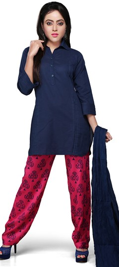 466180 Blue  color family Party Wear Salwar Kameez in Cotton fabric with Thread work .