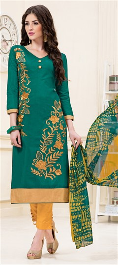 466905 Green  color family Party Wear Salwar Kameez in Chanderi fabric with Lace, Machine Embroidery, Resham, Thread work .