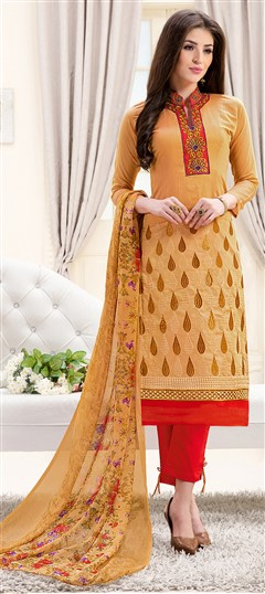466907 Beige and Brown  color family Party Wear Salwar Kameez in Chanderi fabric with Lace, Machine Embroidery, Resham, Thread work .