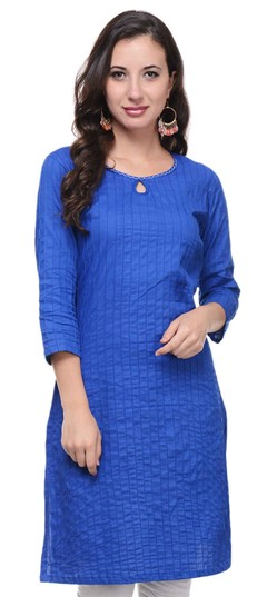 467152 Blue  color family Cotton Kurtis in Cotton fabric with Thread work .