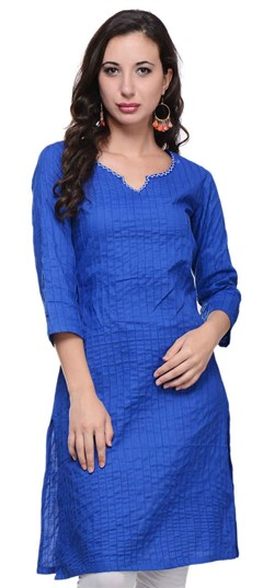 467154 Blue  color family Cotton Kurtis in Cotton fabric with Thread work .