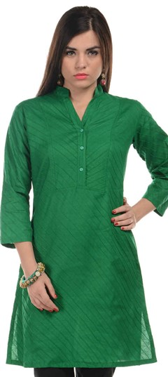 467155 Green  color family Cotton Kurtis in Cotton fabric with Thread work .