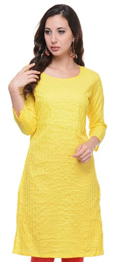 467156 Yellow  color family Cotton Kurtis in Cotton fabric with Thread work .