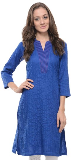 467159 Blue  color family Cotton Kurtis in Cotton fabric with Thread work .