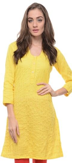 467161 Yellow  color family Cotton Kurtis in Cotton fabric with Thread work .