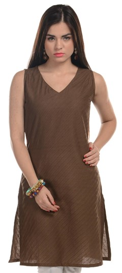 467165 Beige and Brown  color family Cotton Kurtis in Cotton fabric with Thread work .