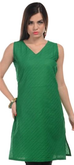 467166 Green  color family Cotton Kurtis in Cotton fabric with Thread work .