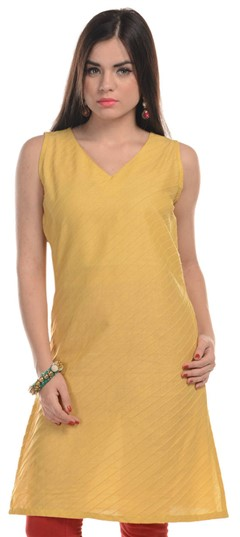 467172 Yellow  color family Cotton Kurtis in Cotton fabric with Thread work .