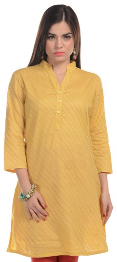 467193 Yellow  color family Cotton Kurtis in Cotton fabric with Thread work .