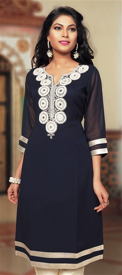 467397 Blue  color family Kurti in Faux Georgette fabric with Machine Embroidery, Stone, Thread work .