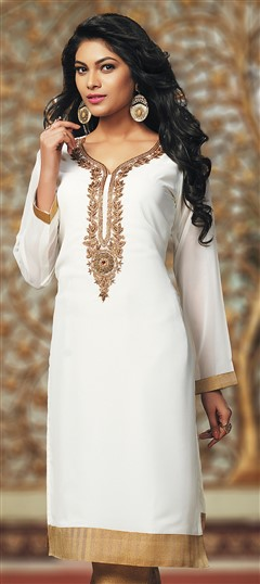 467398 White and Off White  color family Kurti in Faux Georgette fabric with Machine Embroidery, Stone, Thread work .