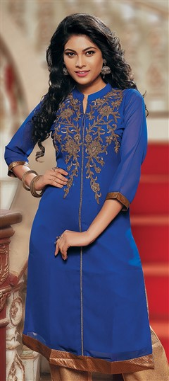 467403 Blue  color family Kurti in Faux Georgette fabric with Machine Embroidery, Stone, Thread work .