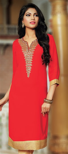 467404 Red and Maroon  color family Kurti in Faux Georgette fabric with Machine Embroidery, Stone, Thread work .