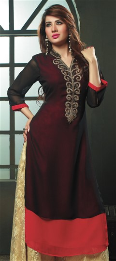 467536 Black and Grey,Red and Maroon  color family Kurti in Viscose fabric with Machine Embroidery,Thread work .