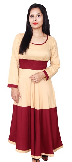 468082 Beige and Brown, Red and Maroon  color family Anarkali style Kurtis in Rayon fabric with Thread work .
