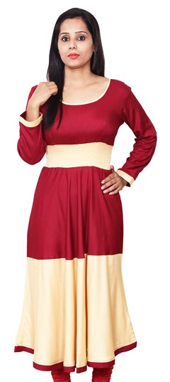 468088 Beige and Brown, Red and Maroon  color family Anarkali style Kurtis in Rayon fabric with Thread work .