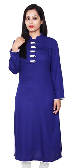 468097 Blue  color family Kurti in Rayon fabric with Thread work .