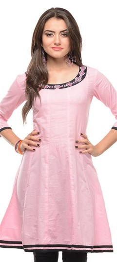 468099 Pink and Majenta  color family Anarkali style Kurtis in Rayon fabric with Thread work .