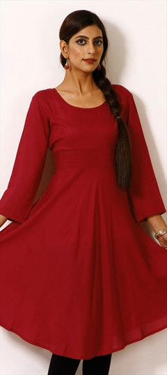 468104 Red and Maroon  color family Anarkali style Kurtis in Rayon fabric with Thread work .