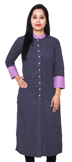 468107 Blue  color family Cotton Kurtis,Printed Kurtis in Cotton fabric with Printed work .