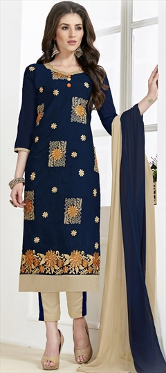 468216: Casual Blue color Salwar Kameez in Chanderi Silk, Cotton fabric with Straight Border, Embroidered, Thread work