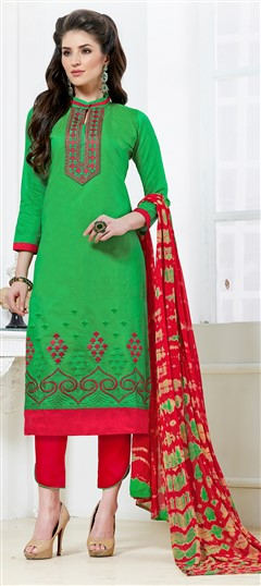 468217 Green  color family Cotton Salwar Kameez in Chanderi, Cotton fabric with Border, Machine Embroidery, Thread work .