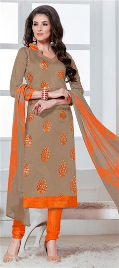 468220 Beige and Brown  color family Cotton Salwar Kameez in Chanderi Silk,Cotton fabric with Border,Machine Embroidery,Thread work .