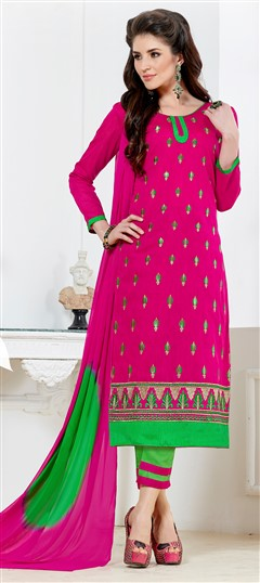 468221 Pink and Majenta  color family Cotton Salwar Kameez in Chanderi, Cotton fabric with Border, Machine Embroidery, Thread work .