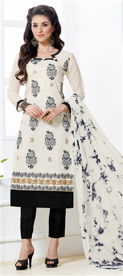 468222 White and Off White  color family Cotton Salwar Kameez in Chanderi, Cotton fabric with Border, Machine Embroidery, Thread work .