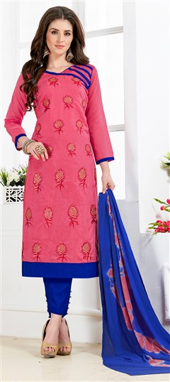 468223 Pink and Majenta  color family Cotton Salwar Kameez in Chanderi, Cotton fabric with Border, Machine Embroidery, Thread work .