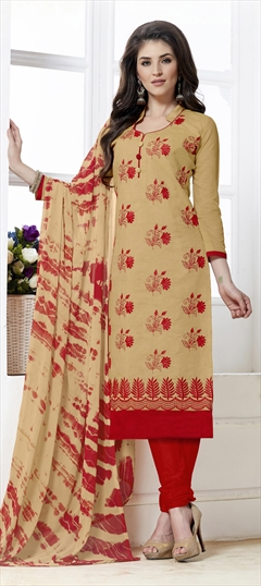 468224 Beige and Brown  color family Cotton Salwar Kameez in Chanderi,Cotton fabric with Border,Machine Embroidery,Thread work .