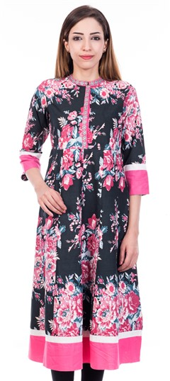 468968 Multicolor  color family Anarkali style Kurtis in Cotton fabric with Printed work .