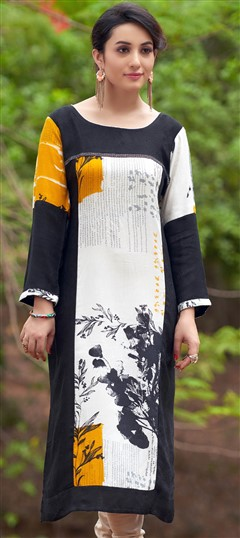 470025 Beige and Brown, Black and Grey  color family Cotton Kurtis, Printed Kurtis in Cotton fabric with Printed work .