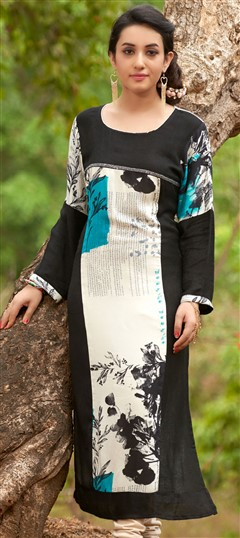 470029 Beige and Brown, Black and Grey  color family Cotton Kurtis, Printed Kurtis in Cotton fabric with Printed work .