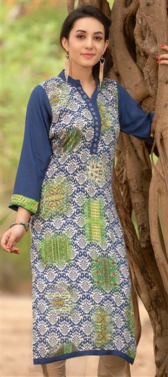 470031 Blue  color family Cotton Kurtis, Printed Kurtis in Cotton fabric with Printed work .