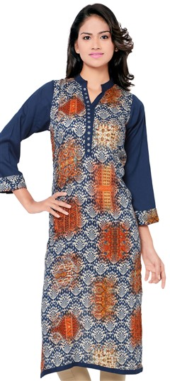 470035 Blue  color family Cotton Kurtis, Printed Kurtis in Cotton fabric with Printed work .
