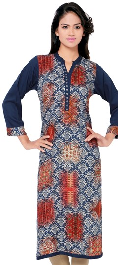 470036 Blue  color family Cotton Kurtis, Printed Kurtis in Cotton fabric with Printed work .