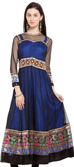470219 Black and Grey, Blue  color family Anarkali style Kurtis in Net fabric with Lace, Machine Embroidery, Sequence, Stone, Thread work .
