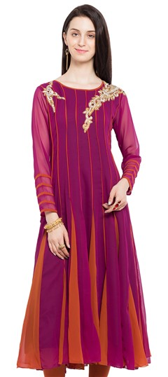 470220 Orange, Pink and Majenta  color family Anarkali style Kurtis in Faux Georgette fabric with Patch, Stone work .