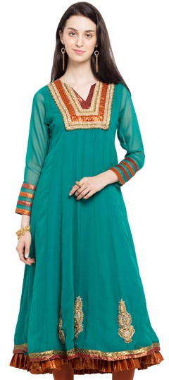 470222 Green  color family Anarkali style Kurtis in Faux Georgette fabric with Cut Dana, Lace, Patch, Stone, Thread work .