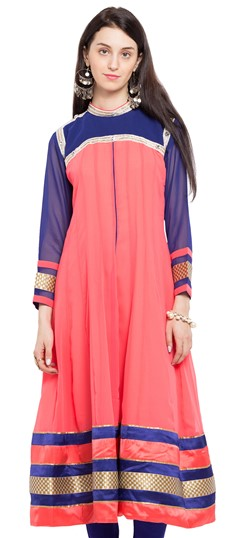 470224 Pink and Majenta  color family Anarkali style Kurtis in Faux Georgette fabric with Lace,Moti,Stone,Zardozi work .