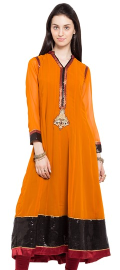 470229 Orange  color family Anarkali style Kurtis in Faux Georgette fabric with Lace, Sequence work .