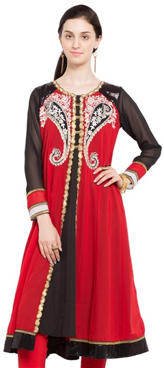 470230 Black and Grey, Red and Maroon  color family Anarkali style Kurtis in Faux Georgette fabric with Lace, Machine Embroidery, Resham, Sequence, Thread work .
