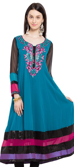 470231 Blue  color family Anarkali style Kurtis in Faux Georgette fabric with Lace, Machine Embroidery, Mirror, Patch, Sequence, Stone, Thread work .