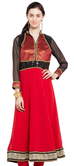470233 Red and Maroon  color family Anarkali style Kurtis in Faux Georgette fabric with Lace, Sequence, Thread work .
