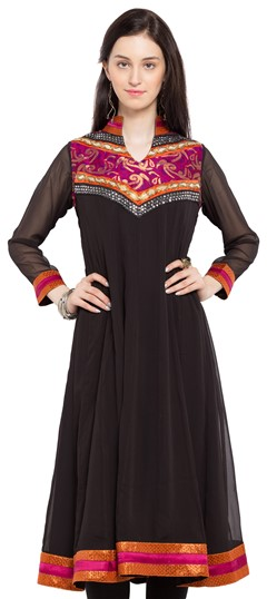 470234 Black and Grey  color family Anarkali style Kurtis in Faux Georgette fabric with Lace, Thread work .