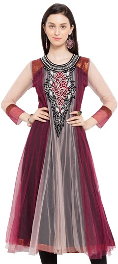 470235 Beige and Brown, Red and Maroon  color family Anarkali style Kurtis in Net fabric with Moti, Patch, Stone, Thread, Valvet work .