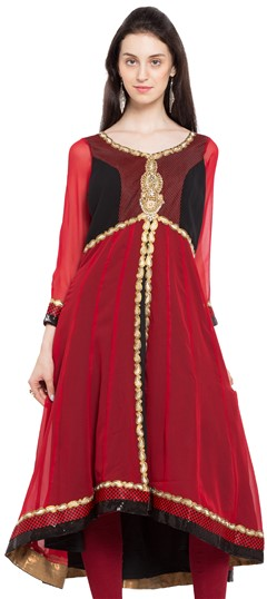 470240 Black and Grey, Red and Maroon  color family Anarkali style Kurtis in Faux Georgette fabric with Lace, Machine Embroidery, Patch, Stone, Thread, Zardozi work .