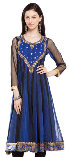 470241 Black and Grey, Blue  color family Anarkali style Kurtis in Faux Georgette fabric with Cut Dana, Lace, Stone, Thread work .